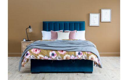 King Size (5ft) Teal Velvet Ottoman Bed - Liberty