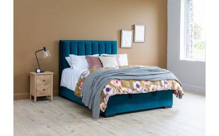 Double (4ft 6) Teal Velvet Ottoman Bed - Liberty