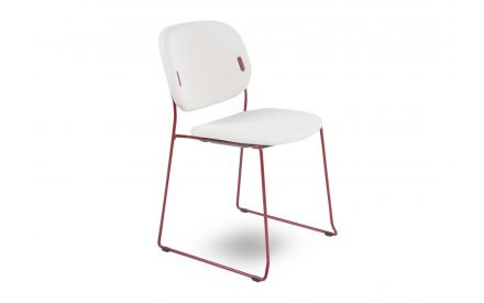 A dining chair with cream fabric seat & red metal legs from EZ Living Furniture's Yo range. Angled view of square frame