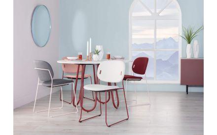 Cream Fabric & Red Metal Dining Chair - Yo