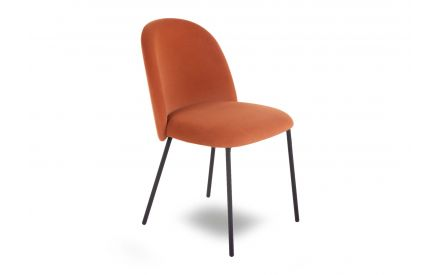 A fabric dining chair in orange fabric from EZ Living Furniture's Tuka range. Angled view of soft padded seat