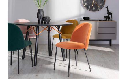 Saffron Orange Fabric Dining Chair - Tuka