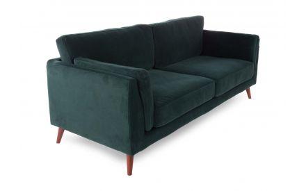 A green velvet 3 seater sofa from EZ Living's Bellini range. Angled view of dark wood feet