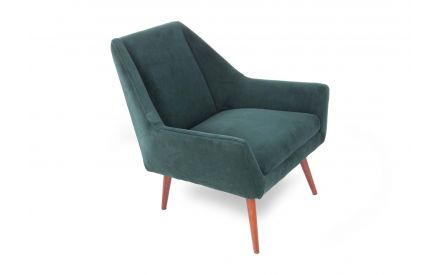 A green velvet armchair with wood legs from EZ Living Furniture's Janey range. Angled view of chair