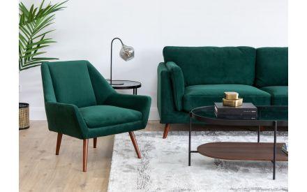 Green Velvet Armchair - Janey
