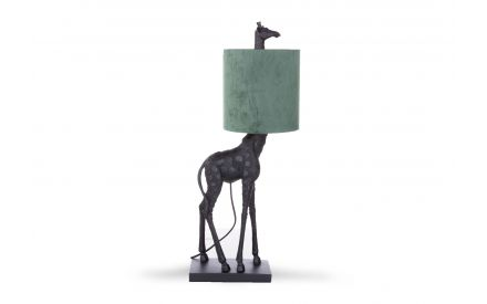 A black metal giraffe table lamp with green shade from EZ Living's Home Accessories range. Front view of lamp.