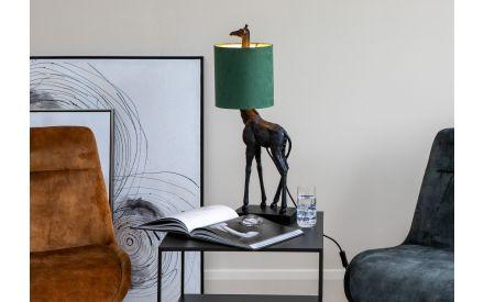 Black Metal Table Lamp with Green Shade - Giraffe