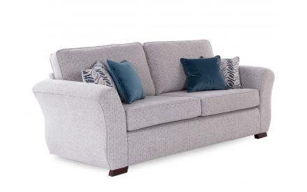 A silver grey 4 seater from EZ Living Furniture Kilronan range. Angled view of dark feet & 4 cushions.