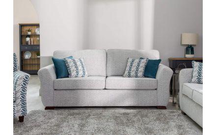 4 Seater Grey Fabric Highback Sofa - Kilronan