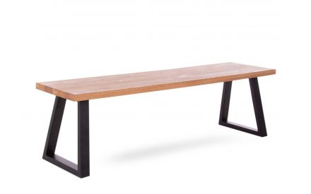 A 200cm oak dining bench with metal legs from EZ Living Furniture's Renvyle range. Angled view of metal legs