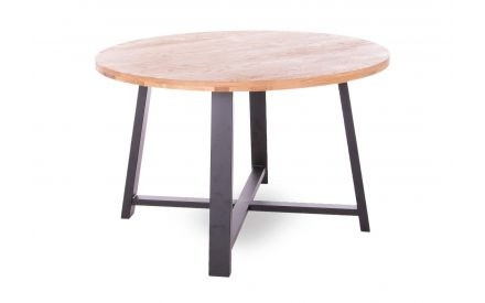 A round oak dining table with metal legs from EZ Living Furniture's Renvyle range. Angled view of black frame