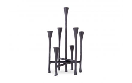 A black metal candlebra from EZ Living Furniture's Oliver range. Front view