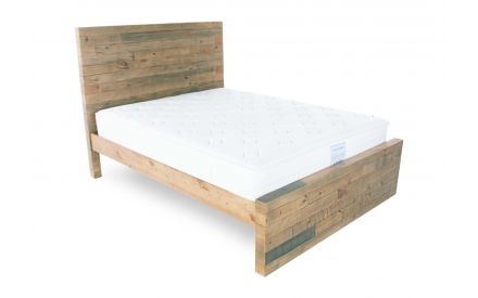 A King 5ft reclaimed pine bedframe from EZ Living Furniture's San Francisco range.  Angled view of bed with mattress