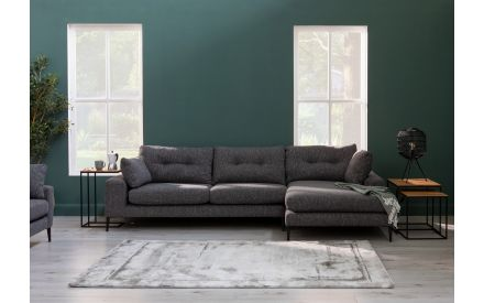 Dark Grey Fabric RHF Lounger Sofa - Conan
