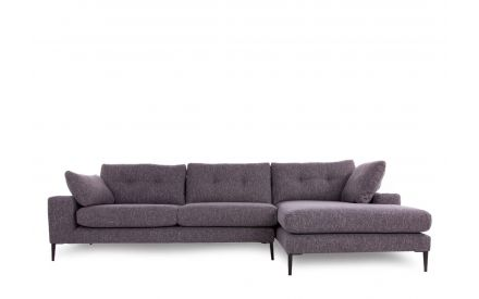 A grey fabric right hand facing lounger sofa from EZ Living's Conan range. Front view of tufted seat cushions