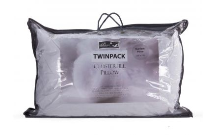 A ball fibre pillow from a twin pack from EZ Living's Mattress range. Front view of packaging