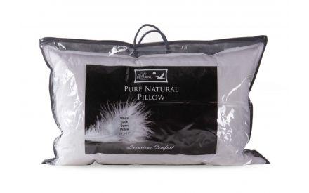 A duck down pillow from EZ Living's Mattress range. Closeup of the packaging.