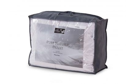 A king 5ft goose feather & down duvet from EZ Living's Bed Linen range. Angled view of the casing shows pure natural fibres