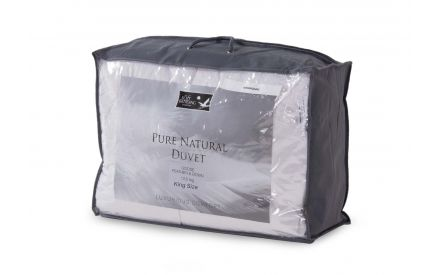 A king size goose down & feather duvet from EZ Living's Bed Linen range. Angled view of the packaging