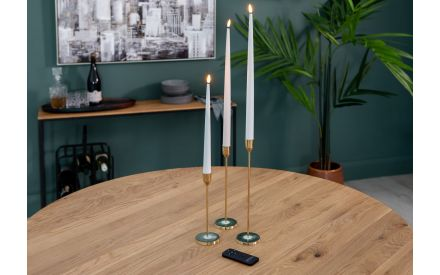 Set of 2 Large White Dinner LED Candles - Real Flame Deluxe