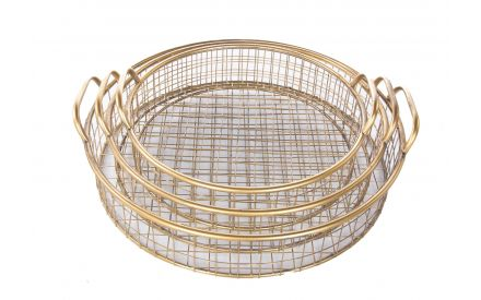 A set of 3 gold metal baskets with handles from EZ Living Furniture's Kedah range. Angled view of the 3 baskets