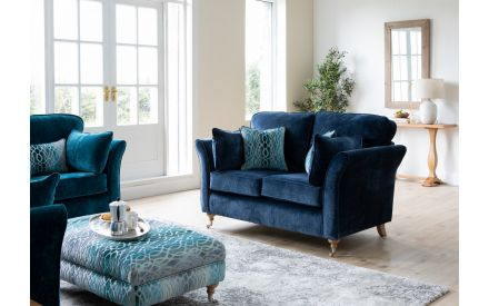 2 Seater Navy Fabric Highback Sofa - Coolmore