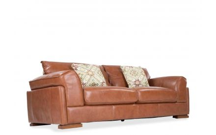 Angled shot of the Torino 3 seater sofa fashioned from fine brown leather with a robust wooden base