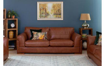 3 Seater Brown Leather Sofa - Torino