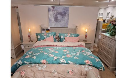 Actual look of the LAYLA 5FT BEDFRAME + 2 LOCKERS floor models on offer in Fonthill store