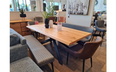 Actual angle look of the Arno 20cm dining table floor model on offer in Fonthill store