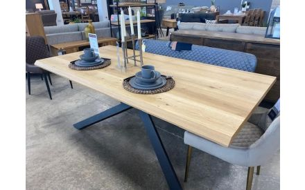 Actual look of the Arno 200cm dining table floor model on offer in Naas Road store
