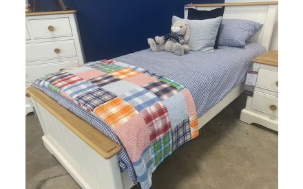 Actual look of the Dreams single 3ft bed frame + mattress floor model on offer in Naas Rd store