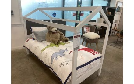 Actual angle look of the Erik 3ft bed frame + mattress floor model on offer in Naas Rd store