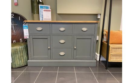 Actual 2 Door 5 Drawer Grey Sideboard - Farmhouse Floor Model on offer in the store.