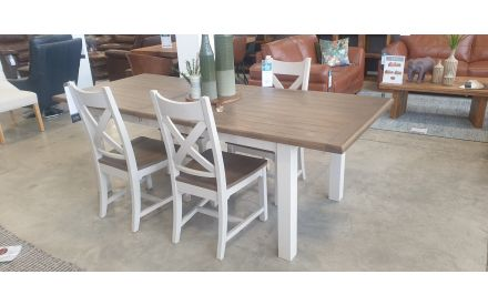 Actual angle look of the Hampshire dining table and 4 chairs floor model on offer in Naas Road store