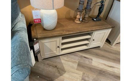 A 2 door TV unit made of reclaimed timber on offer in Limerick store