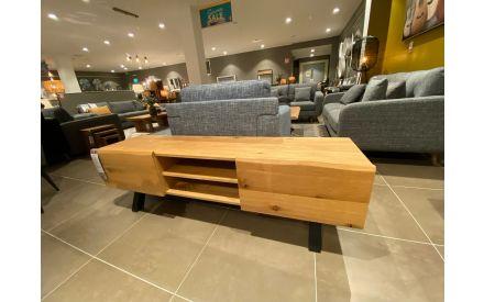 Angled shot of the Oliveto 2 door 2 shelf TV unit floor model on offer in Clonmel store