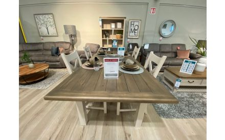 Actual Hampshire dining table with 4 chairs floor model on offer in Clonmel store