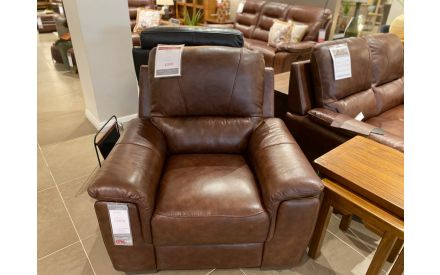 Actual look of the Orion brown armchair floor model on offer in Clonmel store