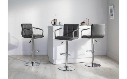 Grey Faux Leather Bar Stool - Jasmine