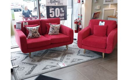 Actual look of the New York red 2 seater sofa and armchair floor models on offer in City East store