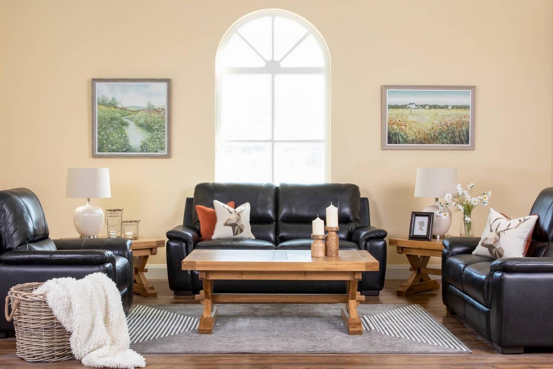 Orion Black Leather Sofa Lookbook