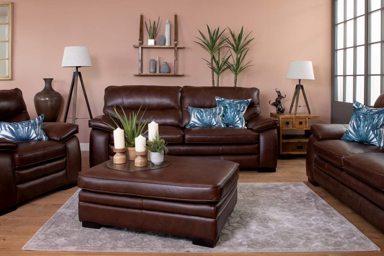Apollo Brown Leather Sofa & Footstool Lookbook