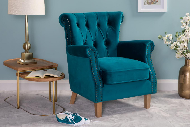 Sara Teal Velvet Armchair & Float Lookbook