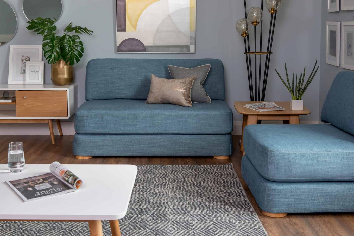 Blue Ralph 2.5 & 1 Seater Sofa Bed