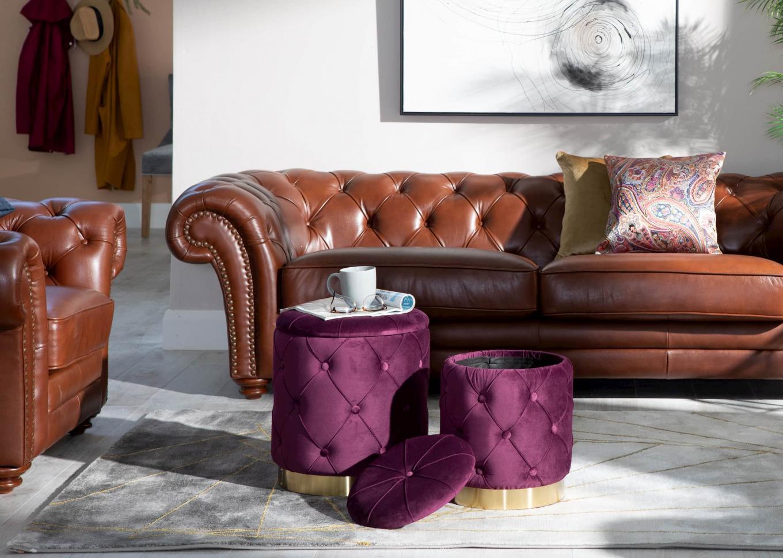 Heritage Brown Sofa & Purple Leroy Lookbook