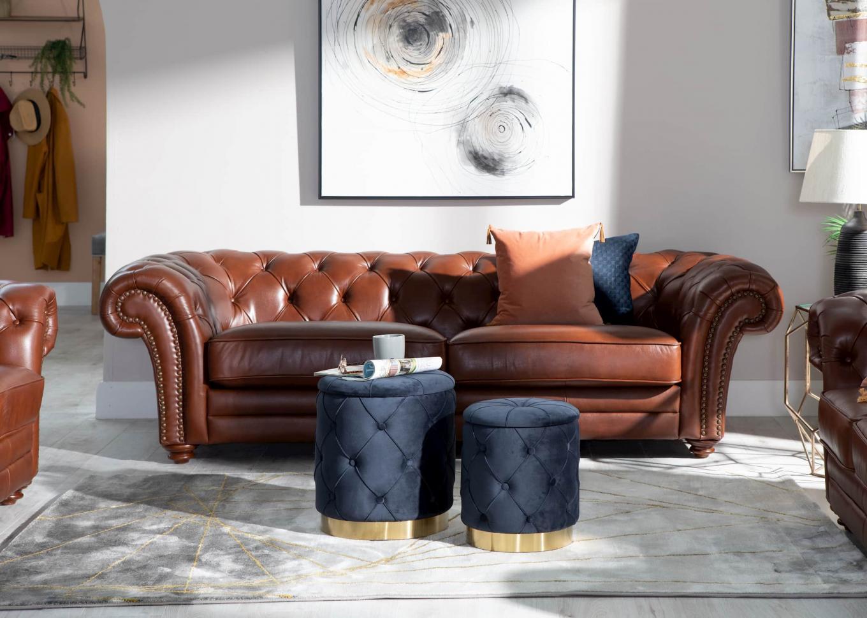 Heritage Brown Sofa & Navy Leroy Lookbook