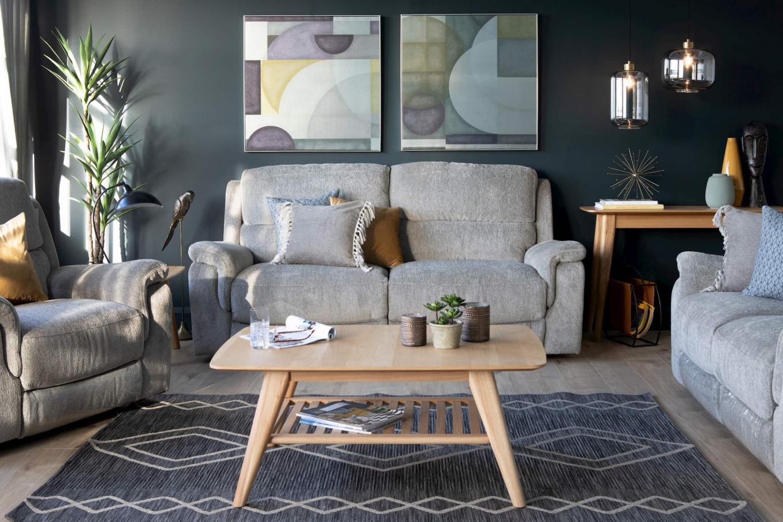 Elm Grey Reclining Sofa Lookbook