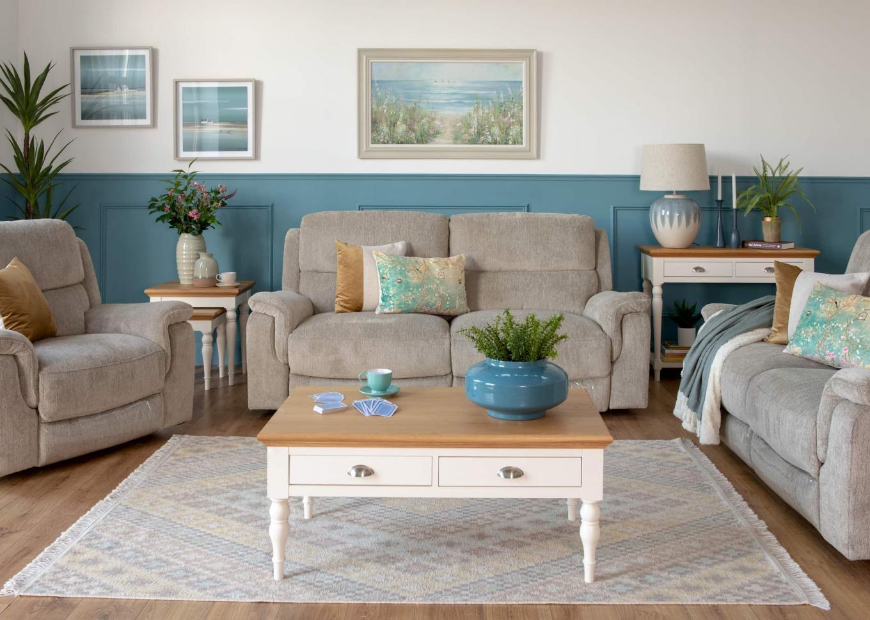 Elm Sand Reclining Sofa & Versailles Lookbook