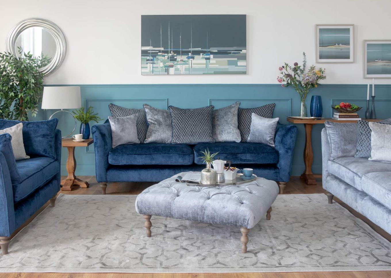 Sophia Blue & Silver Sofa Lookbook